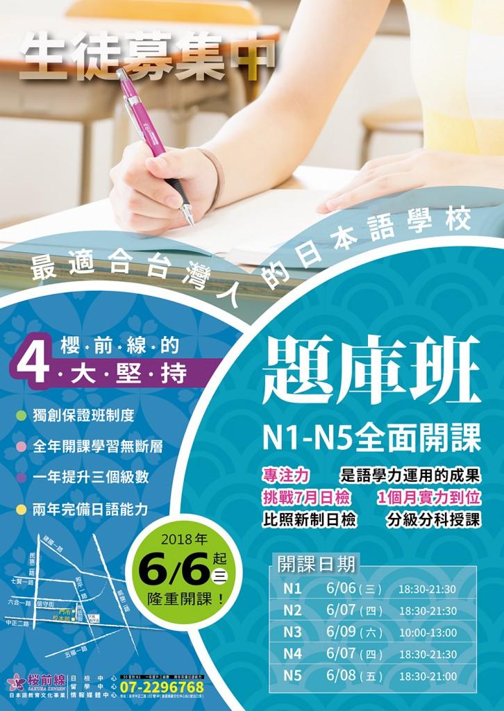 N1-N5題庫班--6/6起全面開課!